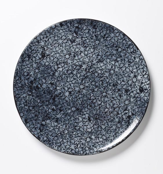 großer Teller Platte Essteller blaues Muster auf blauem Teller ø 28 cm