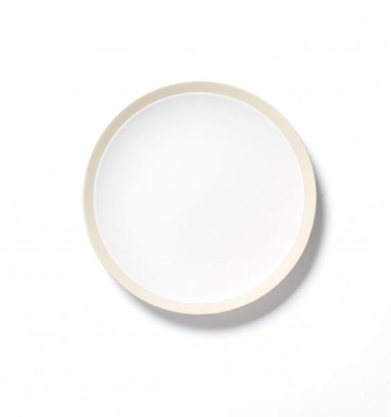 Essteller ø ca 20 cm weiß mit beigem steingut Rand