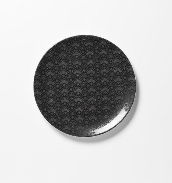 Teller ø 20 cm, matt spotglanz schwarz gemustert Frühstücksteller