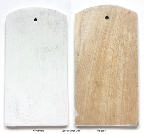 Schneidebrett LxBxH 28 x 14,7 x 1,7 cm, gerissene Farbe weiß angestrichen rechteckig 1 kurze Kante
