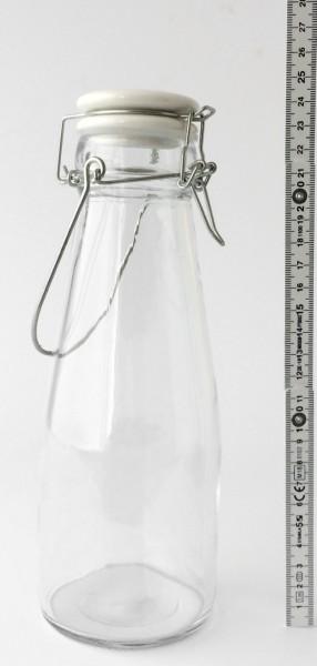 Bügelflasche Glas Deckel Keramik grau 0,8 L H 24 cm