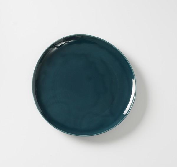 Teller flach ø 27,5 cm blau Muster auf Unterseite Teller, glänzend