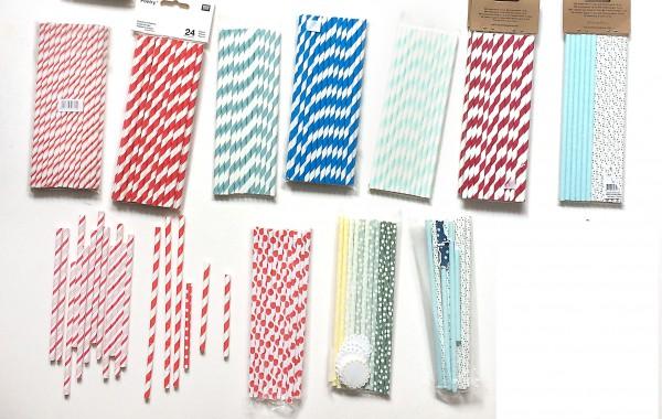Strohhalme Papier diverse Farben und Muster
