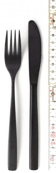 Besteckset Messer + Gabel L ca. 20 cm schwarz matt 2-teilig