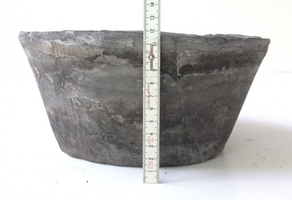 Blumentopf Übertopf oval H 12 cm L 25 cm B 22,5 grau schwarz Ton gebrannt, used look