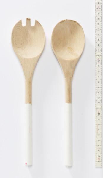 Salatbesteck, Set Gabel + Löffel, Holz mit weiß lackierten Griffen, 28 cm