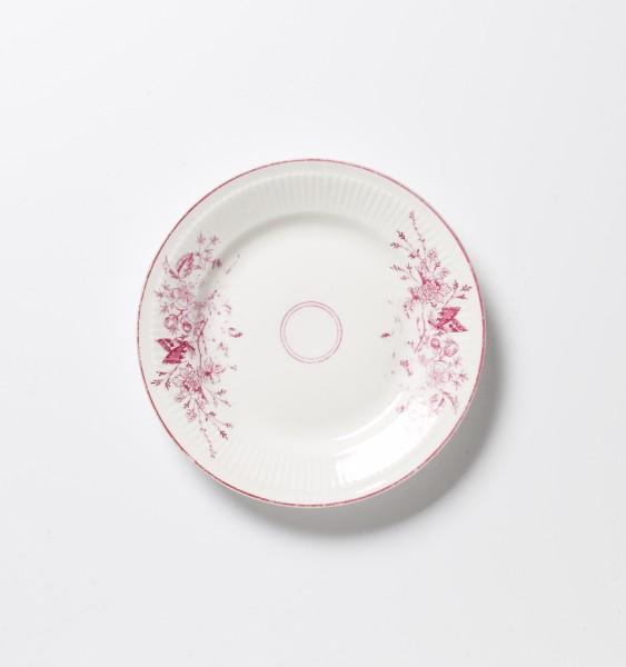 Teller ø 20 cm, rot weiß Blumenmuster, antik Frühstücksteller