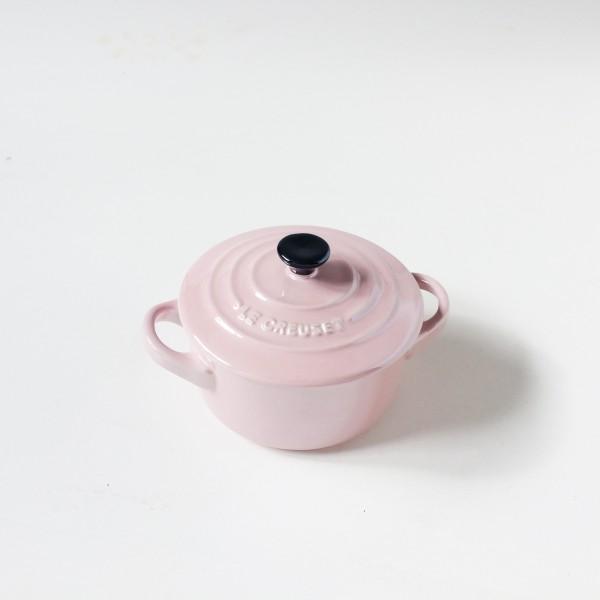 Mini Cocotte rosa ø 10cm H 5cm innen beige Keramik