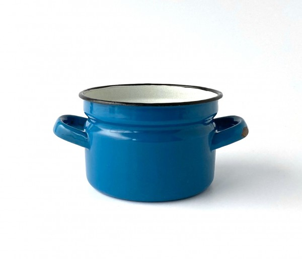 Topf ohne Deckel ø ca. 15 cm H ca. 10,5 cm blau Innen weiß used vintage