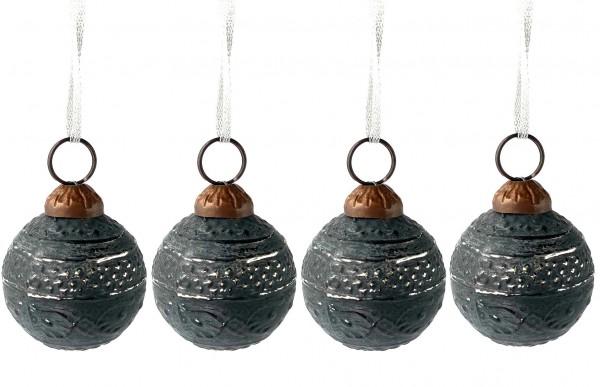 Weihnachtskugel ø 3,5 cm schwarz mit silbrig used look Muster, Set mit 4 Stk