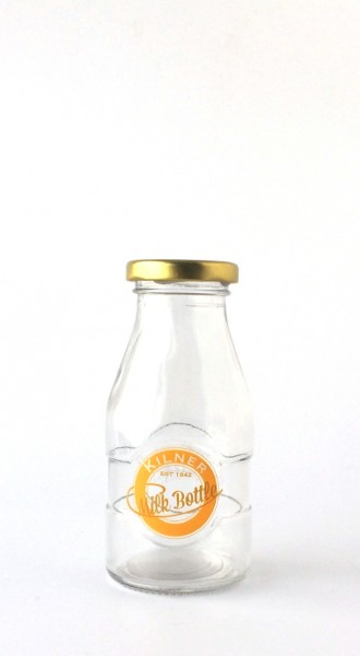 Milchflasche Glas gelbes Logo, 0,250 L