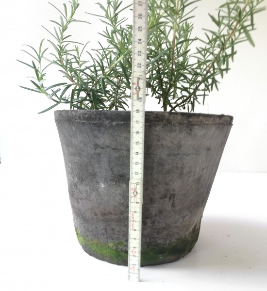 Blumentopf Übertopf H 18 cm ø 22,5 grau schwarz Ton gebrannt, used look