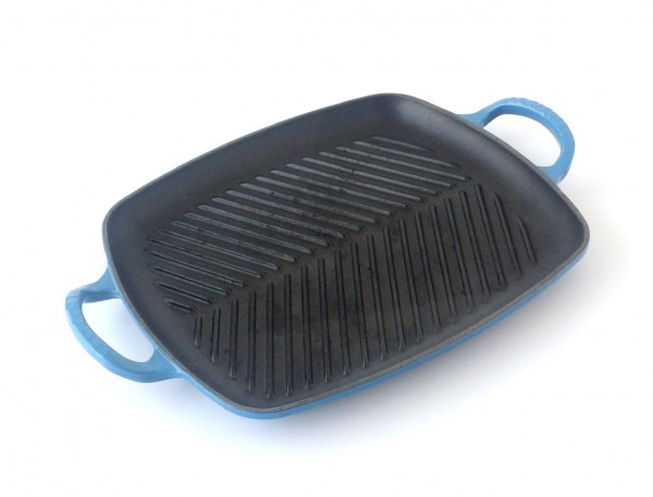 Grillplatte Grillpfanne, L 39 x B 27 cm Gusseisen, schwarz blau rechteckig
