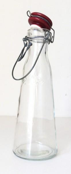 Bügelflasche Glas Deckel Keramik rot, 0,5 L