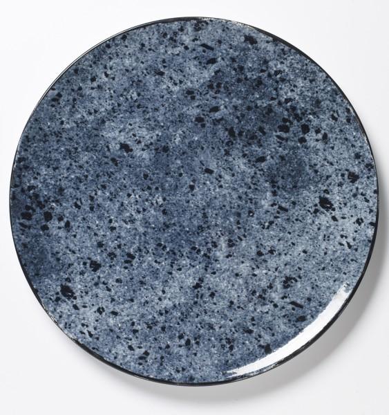 großer Teller Platte Essteller blaues Stonemuster vollflächig ø 31,5 cm