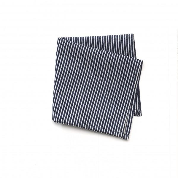 Serviette + Serviettenring Denim Jeans gestreift blau weiß 29 x 29 cm
