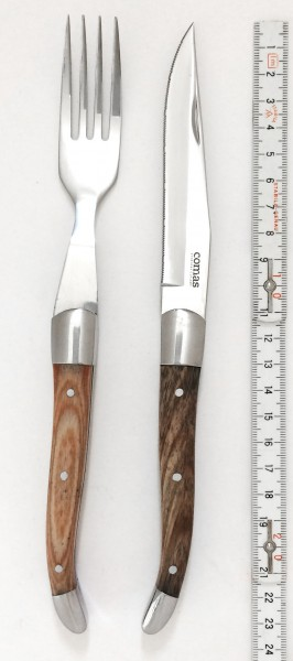 Steakmesser und Gabel, Griff: Holz, Steakbesteck