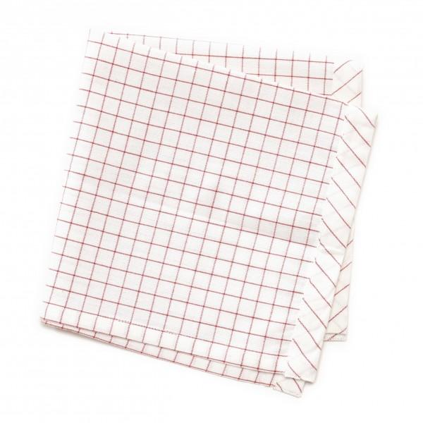 Serviette weiß/beige rote Linien, weiße Karos, 40 x 40 cm