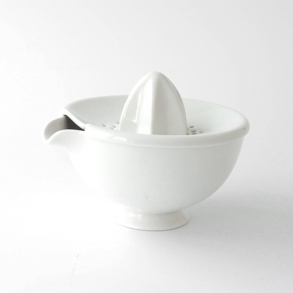 Zitronenpresse Saftpresse weiß Porzellan 2-teilig