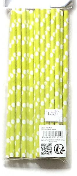 Strohhalme Papier grün mit weißen Punkte, Set mit 15 Stück
