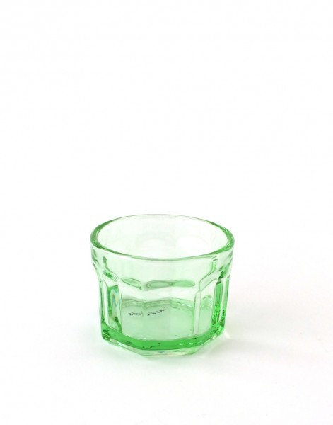 Trinkglas klein H 6 cm ø 7,5 cm grün transparent