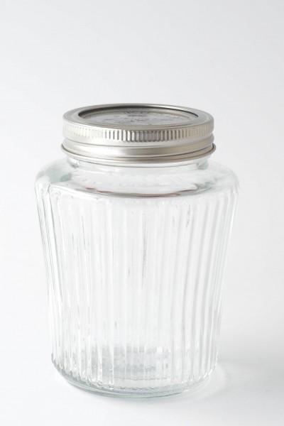 Schraubglas Marmeladenglas mit Längsrillen Deckelplatte rausnehmbar