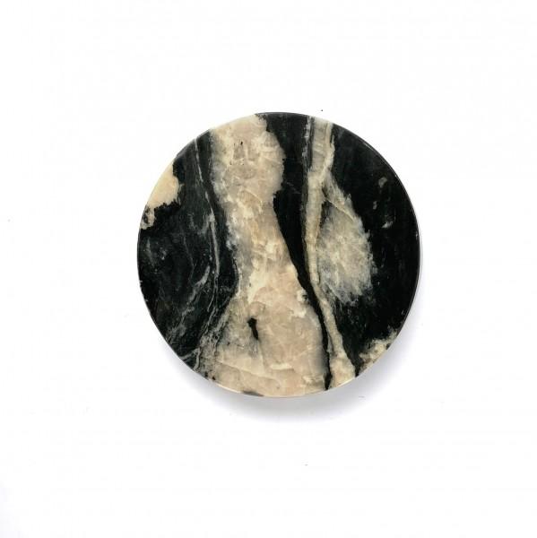 Schneidebrett ø 15 cm H 2 cm Stein Marmor rund schwarz mit weiß durchzogen