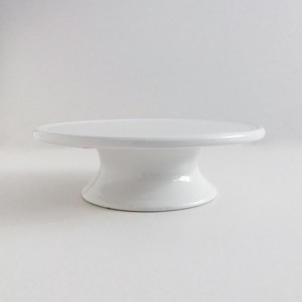 Kuchenständer Tortenständer Steingut weiß glänzend