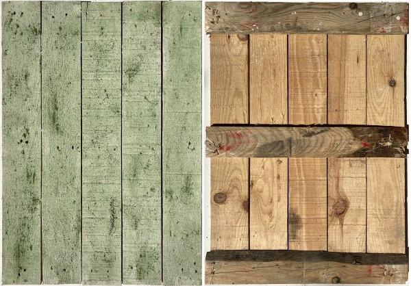 L 70 cm x B 50 cm kleiner Untergrund, Holz 1 Seite grün, 1 Seite natur braun used