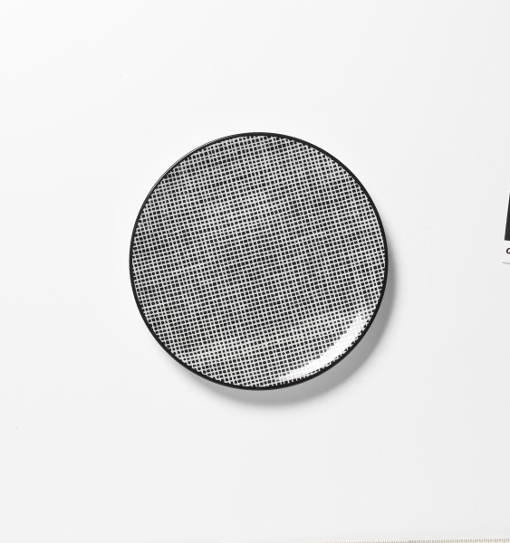 kleiner Frühstücksteller Dessertteller schwarz weiß Karo ø 17 cm