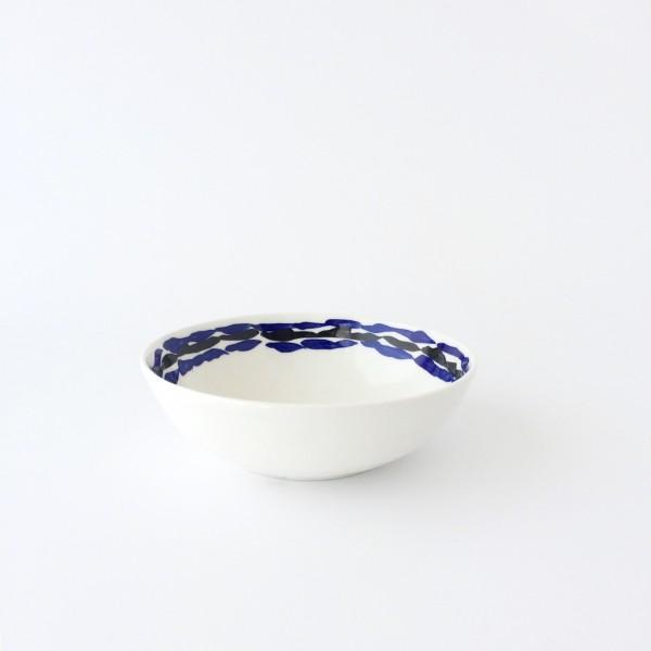 Schale ø 17 cm creme mit blau schwarzem Wellen Innen oberer Rand glänzend rund