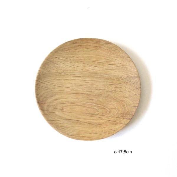 Teller ø 17,5 cm Holz Eiche Vollholz unbehandelt